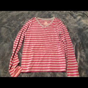 pink and grey striped long sleeved t-shirt